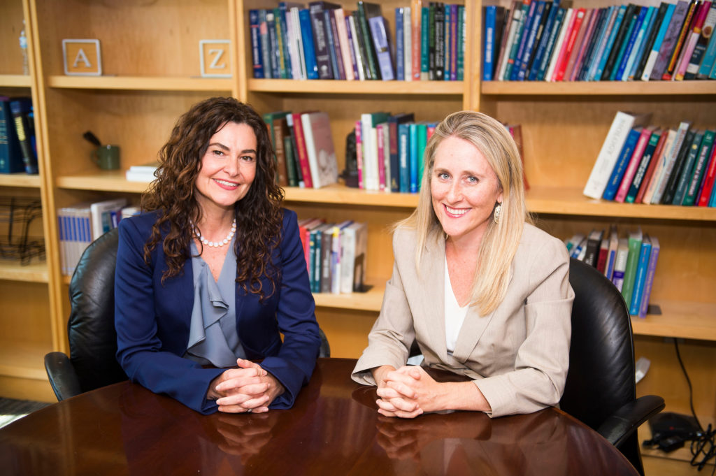 Professors Ladan Eshkevari and Carrie Bowman Dalley in St. Mary's Hall